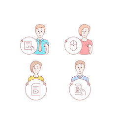Computer mouse video file and document icons vector