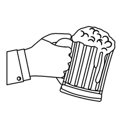 Contour glass of beer in the hand icon design vector