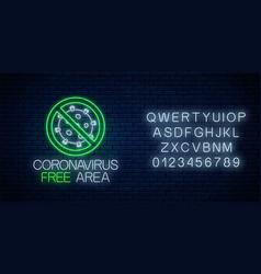 Coronavirus free area neon sign with alphabet vector