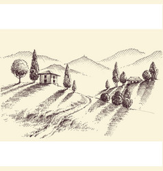 crops and hills hand drawing farm property sketch vector image