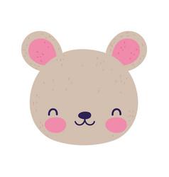 cute bear face little animal cartoon isolated vector image