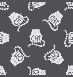 cute fat cat seamless pattern funny hand drawn on vector image