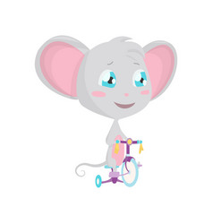 cute grey mouse rides a bicycle stock vector image