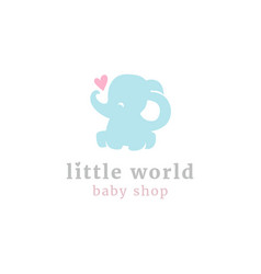 Cute little elephant logo vector