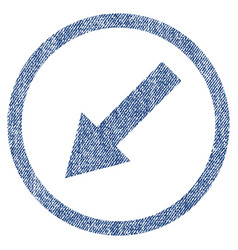 down-left rounded arrow fabric textured icon vector image