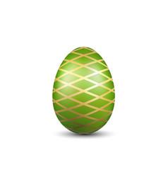 Easter egg 3d icon green gold egg isolated white vector