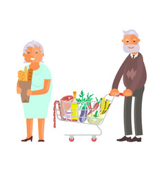 elderly people on shopping vector image