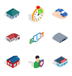 Everyday life icons set isometric style vector