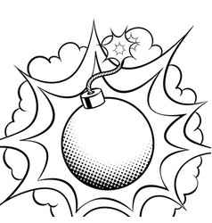 Exploding bomb coloring book vector