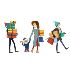 Family going with presents person and gift boxes vector