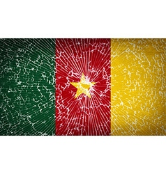 Flags cameroon with broken glass texture vector image