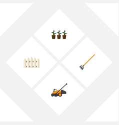 flat icon farm set of lawn mower flowerpot tool vector image