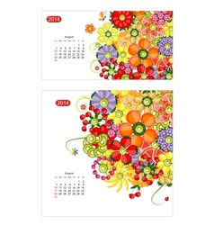 Floral calendar 2014 august Design for two size of vector image