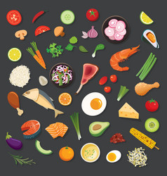 Food and ingredients background flat design vector
