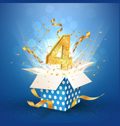 Four years anniversary open gift box of polka dots vector