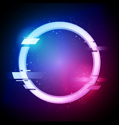 Glitched circle in retro neon style vector