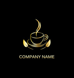 gold hot drink logo vector image