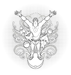 Graphic man surrounded by fantasy creatures vector