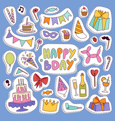 happy birthday party symbols carnival vector image