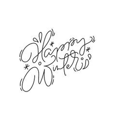 Happy winter calligraphic hand written monoline vector