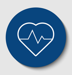 heartbeat sign white contour vector image