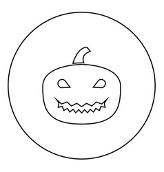 horror pumpkin black icon in circle outline vector image
