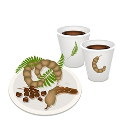 Hot Coffee with Tamarind Pod and Leaves vector