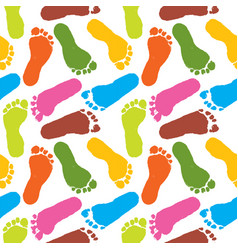 Human paint footprints pattern colorful background vector