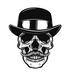 Human skull in vintage hat vector