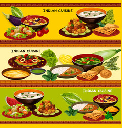 indian cuisine banner with traditional asian food vector image