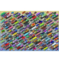 Isometric Cars Buses Trucks Vans Mega Collection vector