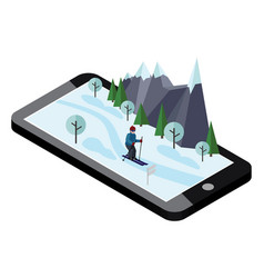 isometric man skiing mobile navigation videos vector image