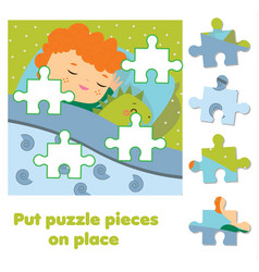 Jigsaw puzzle for toddlers match pieces and vector