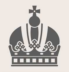 king crown with cross on top grey silhouette vector image