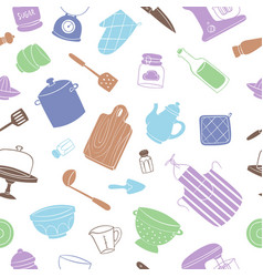kitchen tools and utensils seamless pattern vector image