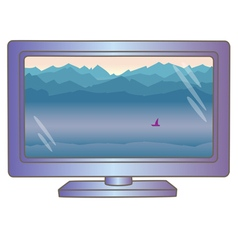 Lcd tv monitor with mountain landscape on screen vector image