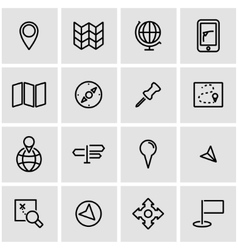 Line map icon set vector