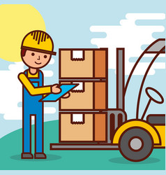 logistic worker and forklift loading boxes vector image
