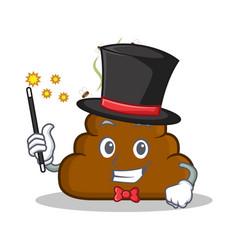 Magician poop emoticon character cartoon vector