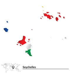 Map of Seychelles with flag vector