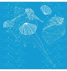 Marine seashell blue card vector image