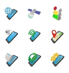 Mobile phone icons set cartoon style vector image