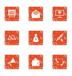 money arrest icons set grunge style vector image