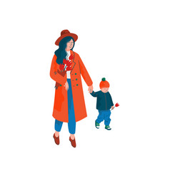 mother and her little son walking holding hands vector image
