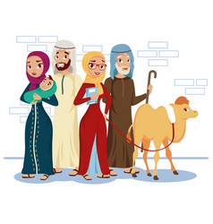 Muslim people and camel vector