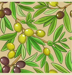olive branches pattern on color background vector image