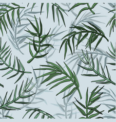palm jungle leaves silhouette seamless background vector image