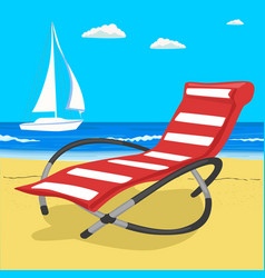 paradise beach in sea with yacht and deckchair vector image