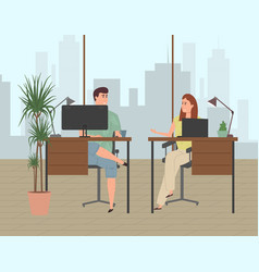 people work in a modern office in a business vector image