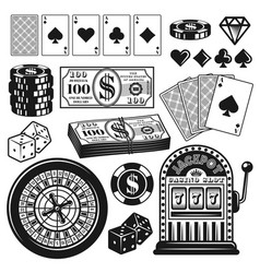 Poker and casino gambling objects design elements vector